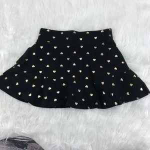 Black w/ Gold Heart Printed Knit Ruffle Skort